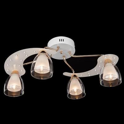 Светильник Евросвет 80010/4 белый+золото/белыйПотолочные<br><br><br>Установка на натяжной потолок: Да<br>S освещ. до, м2: 8<br>Крепление: Планка<br>Тип лампы: Накаливания / энергосбережения / светодиодная<br>Тип цоколя: E14<br>Количество ламп: 4<br>MAX мощность ламп, Вт: 40<br>Диаметр, мм мм: 590<br>Высота, мм: 250<br>Цвет арматуры: белый с золотистой патиной