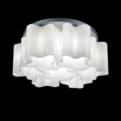 Lightstar Denver 802071 ЛюстраПотолочные<br><br><br>Установка на натяжной потолок: Ограничено<br>S освещ. до, м2: 18<br>Крепление: Планка<br>Тип товара: Люстра<br>Тип лампы: накаливания / энергосбережения / LED-светодиодная<br>Тип цоколя: E27<br>Количество ламп: 7<br>MAX мощность ламп, Вт: 40<br>Диаметр, мм мм: 550<br>Размеры: D550 H230<br>Высота, мм: 230<br>Оттенок (цвет): белый<br>Цвет арматуры: серебристый