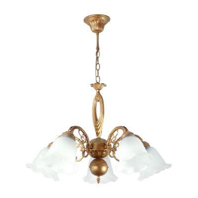 Люстра Colosseo 80302/5 LauraПодвесные<br>Изысканная итальянская люстра выполненная в античном стиле. Плафоны белого цвета дают красивый и яркий свет. Изящные изгибы ее рожков, украшенные прекрасными декоративными элементами, великолепно гармонируют с крупными и ярко выраженными деталями центральной части. Вся арматура выполнена в медном цвете, что придает люстре еще больший налет древности и романтики. Цепная система подвеса позволяет с легкостью регулировать высоту расположения люстры.<br><br>Установка на натяжной потолок: Да<br>S освещ. до, м2: 20<br>Крепление: Крюк<br>Тип лампы: накаливания / энергосбережения / LED-светодиодная<br>Тип цоколя: E27<br>Количество ламп: 5<br>MAX мощность ламп, Вт: 60<br>Диаметр, мм мм: 600<br>Высота, мм: 570 - 870<br>Цвет арматуры: латунь