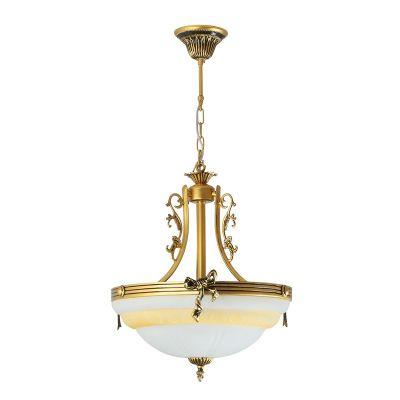 Люстра Colosseo 80304/3A CesareПодвесные<br>Подвесной светильник Colosseo 80304/3A Cesare - великолепный экземпляр итальянского мастерства, в котором неповторимая красота и тщательная проработка каждой детали идеально сочетаются с современными технологиями и международными стандартами качества! Изящные декоративные элементы окрашены в оттенок «черненое золото», придавая конструкции шарм и благородный облик, белый матовый плафон создает «мягкое» и комфортное для зрения освещение на площади до 12 кв.м. В интерьере комнаты обязательно должны присутствовать похожие цвета в качестве основной гаммы, и не более трех контрастных тонов в небольших аксессуарах, например, картина, ваза для цветов, диванные подушки и т.п.<br><br>Установка на натяжной потолок: Да<br>S освещ. до, м2: 12<br>Крепление: Крюк<br>Тип лампы: накаливания / энергосбережения / LED-светодиодная<br>Тип цоколя: E27<br>Количество ламп: 3<br>MAX мощность ламп, Вт: 60<br>Диаметр, мм мм: 420<br>Высота, мм: 570 - 870<br>Цвет арматуры: золотой с чернением