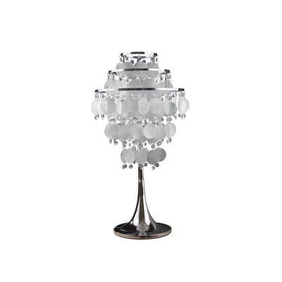 Светильник настольный Colosseo 80363/1T FlaviaХай тек<br>Настольная лампа Colosseo 80363/1T Flavia хром станет прекрасным дополнением и настоящим украшением комнаты, оформленной в стиле «хай-тек»! Оригинальная форма, «металлические» элементы и множество круглых алебастровых и стеклянных подвесок заставляют проходящие через них лучи отражаться во множестве граней, формируя яркое, «искрящееся» освещение. Лампа как будто наполнена воздухом и легкостью, и поэтому всегда будет являться не только источником света, но и создателем гармоничной, уютной обстановки в доме и Ваших положительных эмоций!<br><br>S освещ. до, м2: 4<br>Тип лампы: накаливания / энергосбережения / LED-светодиодная<br>Тип цоколя: E27<br>Количество ламп: 1<br>MAX мощность ламп, Вт: 60<br>Диаметр, мм мм: 300<br>Высота, мм: 450<br>Оттенок (цвет): белый<br>Цвет арматуры: серебристый