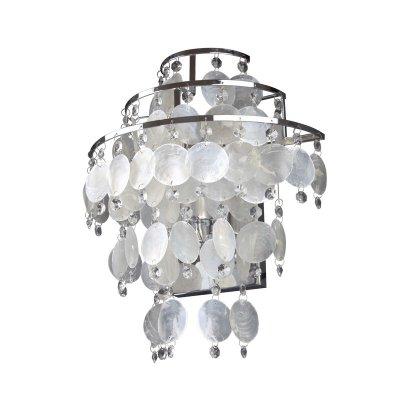 Светильник бра Colosseo 80363/1W FlaviaХай-тек<br>Настенный светильник Colosseo 80363/1W Flavia хром станет превосходным завершением световой композиции в интерьере «хай-тек»! Элегантный, оригинальный, украшенный алебастровыми и стеклянными подвесками, он отлично впишется в любое по функциональности помещение и во все цветовые гаммы, т.к. белый цвет является универсальным. В комплекте с люстрой, торшером, настольной лампой и несколькими аналогичными бра, такой светильник будет являться настоящим украшением комнаты и свидетельством великолепного вкуса его владельца!<br><br>S освещ. до, м2: 4<br>Крепление: настенное<br>Тип лампы: накаливания / энергосбережения / LED-светодиодная<br>Тип цоколя: E27<br>Количество ламп: 1<br>Ширина, мм: 300<br>MAX мощность ламп, Вт: 60<br>Расстояние от стены, мм: 180<br>Высота, мм: 360<br>Цвет арматуры: серебристый