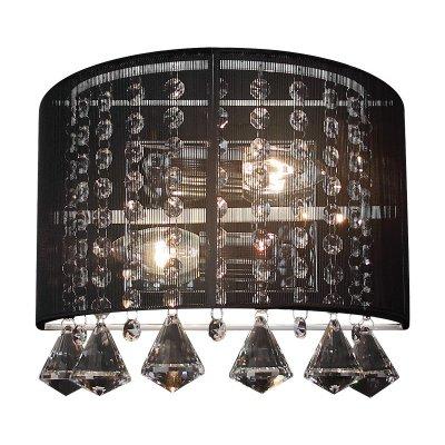 Светильник бра Colosseo 80385/2W MirabellaХрустальные<br>Великолепный итальянский шедевр светотехники представляет собой настенное бра Colosseo 80385/2W. Гармоничное сочетание таких материалов, как прочный металл, изысканный текстиль и переливающийся хрусталь, делают изделие поистине роскошным и притягательным. Для освещения и украшения различных интерьерных зон прекрасно подойдёт великолепное настенное бра Colosseo 80385/2W. Целые ожерелья хрусталя подвешены к округлой и лаконичной конструкции изделия, которое обрамлено изысканной полупрозрачной тканью благородного чёрного цвета: строгого и элегантного. Всё это наполняет настенное бра Colosseo 80385/2W очаровательным шармом, изысканностью и превосходной эстетикой, необходимой для роскошных интерьеров в лучших традициях итальянской моды.<br><br>S освещ. до, м2: 8<br>Тип лампы: накаливания / энергосбережения / LED-светодиодная<br>Тип цоколя: E14<br>Количество ламп: 2<br>Ширина, мм: 280<br>MAX мощность ламп, Вт: 60<br>Расстояние от стены, мм: 180<br>Высота, мм: 230<br>Цвет арматуры: серебристый