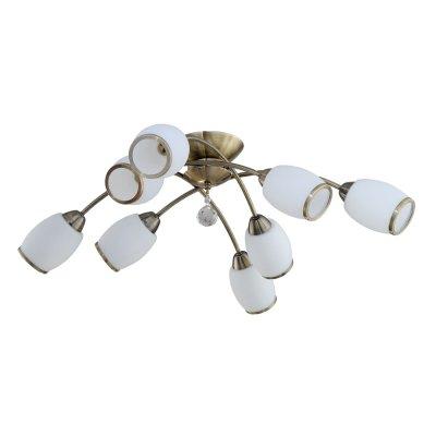 Светильник IDLamp 804/8PF Oldbronzeсовременные потолочные люстры модерн<br>Компания «Светодом» предлагает широкий ассортимент люстр от известных производителей. Представленные в нашем каталоге товары выполнены из современных материалов и обладают отличным качеством. Благодаря широкому ассортименту Вы сможете найти у нас люстру под любой интерьер. Мы предлагаем как классические варианты, так и современные модели, отличающиеся лаконичностью и простотой форм.  Стильная люстра IDLamp 804/8PF-Oldbronze станет украшением любого дома. Эта модель от известного производителя не оставит равнодушным ценителей красивых и оригинальных предметов интерьера. Люстра IDLamp 804/8PF-Oldbronze обеспечит равномерное распределение света по всей комнате. При выборе обратите внимание на характеристики, позволяющие приобрести наиболее подходящую модель. Купить понравившуюся люстру по доступной цене Вы можете в интернет-магазине «Светодом».<br><br>Установка на натяжной потолок: Да<br>S освещ. до, м2: 32<br>Крепление: Потолочные<br>Тип лампы: накаливания / энергосбережения / LED-светодиодная<br>Тип цоколя: E14<br>Цвет арматуры: бронзовый антик<br>Количество ламп: 8<br>Ширина, мм: 770<br>Длина, мм: 770<br>Высота, мм: 260<br>Оттенок (цвет): белый<br>MAX мощность ламп, Вт: 60