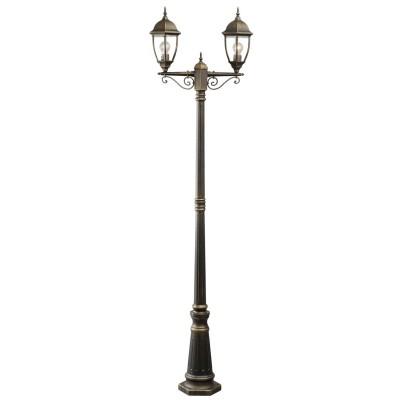 Светильник влагозащищенный Mw light 804040602 ФабурБольшие фонари<br>Описание модели 804040602: Уличный светильник из коллекции «Фабур» по достоинству оценят любители  классики. Основание из алюминия цвета старинной позолоты напоминает об античных временах. Под стать ему – форма стеклянных плафонов, традиционная для интерьеров дворцовых замков. Такой светильник идеально дополнит изысканный экстерьер загородного дома, дизайн которого ориентирован на благородную классику. Рекомендуемая площадь освещения порядка 10 кв.м.<br><br>S освещ. до, м2: 10<br>Тип лампы: накаливания / энергосбережения / LED-светодиодная<br>Тип цоколя: Е27<br>Цвет арматуры: золотой<br>Количество ламп: 2<br>Ширина, мм: 230<br>Длина, мм: 610<br>Высота, мм: 2280<br>Поверхность арматуры: матовый<br>MAX мощность ламп, Вт: 100<br>Общая мощность, Вт: 200