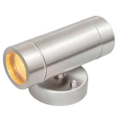Светильник влагозащищенный Mw light 807020501 МеркурийНастенные<br>Описание модели 807020501: Стильный миниатюрный светильник из коллекции «Меркурий» украсит и дополнит обстановку экстерьера загородного дома. Его основание сделано из стали – символа надежности и качества и дополнено плафоном из прочного стекла. Точная цилиндрическая форма, идеальная для уличных светильников цветовая гамма, качественные материалы – неоспоримые достоинства этой модели. Помимо того, светильник имеет высокий уровень  IP защиты от влаги и пыли. Он идеален для зональной подсветки газонов, дорожек, крыльца и ступеней. Рекомендуемая площадь освещения порядка 5 кв.м.<br><br>S освещ. до, м2: 5<br>Тип лампы: LED - светодиодная<br>Тип цоколя: GU10<br>Количество ламп: 2<br>Ширина, мм: 90<br>MAX мощность ламп, Вт: 21<br>Длина, мм: 160<br>Высота, мм: 100<br>Цвет арматуры: серебристый