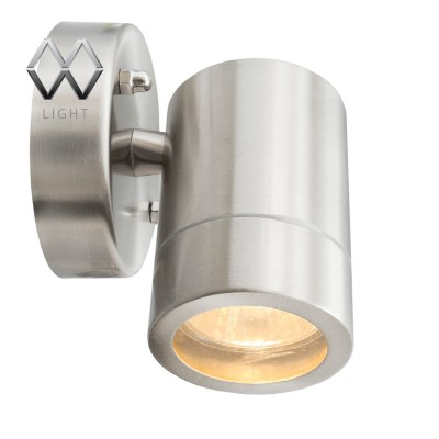 Светильник влагозащищенный Mw light 807020601 МеркурийНастенные<br>Описание модели 807020601: Стильный миниатюрный светильник из коллекции «Меркурий» украсит и дополнит обстановку экстерьера загородного дома. Его основание сделано из стали – символа надежности и качества и дополнено плафоном из прочного стекла. Точная цилиндрическая форма, идеальная для уличных светильников цветовая гамма, качественные материалы – неоспоримые достоинства этой модели. Помимо того, светильник имеет высокий уровень  IP защиты от влаги и пыли. Он идеален для зональной подсветки газонов, дорожек, крыльца и ступеней. Рекомендуемая площадь освещения порядка 5 кв.м.<br><br>S освещ. до, м2: 2<br>Тип лампы: LED - светодиодная<br>Тип цоколя: GU10<br>Цвет арматуры: серебристый<br>Количество ламп: 1<br>Ширина, мм: 90<br>Длина, мм: 120<br>Высота, мм: 100<br>MAX мощность ламп, Вт: 21
