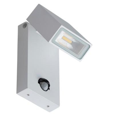 Светильник влагозащищенный Mw light 807021601 МеркурийС датчиком<br>Описание модели 807021601: Многофункциональный светильник из коллекции «Меркурий» соединяет в себе строгий современный дизайн и  новейшие технологии. Металлическое основание окрашено в классический белый цвет.  По своему желанию можно регулировать направление светового потока.  Светильник оснащен датчиком движения и настройкой чувствительности, а также имеет высокие показатели влагозащищенности, благодаря чему  идеально подходит для использования на улице. Площадь освещения порядка 4 кв.м.<br><br>S освещ. до, м2: 4<br>Тип лампы: накаливания / энергосберегающая / светодиодная<br>Тип цоколя: LED<br>Количество ламп: 1<br>Ширина, мм: 80<br>MAX мощность ламп, Вт: 21<br>Длина, мм: 190<br>Высота, мм: 120<br>Поверхность арматуры: матовый<br>Цвет арматуры: серебристый<br>Общая мощность, Вт: 21