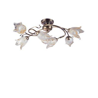 Люстра Colosseo 80927/6CПотолочные<br>Изысканная потолочная люстра Colosseo 80927/6С станет настоящим украшением любого интерьера в стиле «флористика»! Каждая ее деталь тщательно продумана и выполнена с ювелирной точностью, поэтому она напоминает сказочные распускающиеся белые цветы на вьющихся стеблях. Шесть плафонов направлены в разные стороны, поэтому освещение пространства создается равномерно ярким на площади до 24 кв.м. Люстра по праву займет центральное место в любой большой комнате, предназначенной для принятия множества гостей одновременно – зале, холле и т.п.<br><br>Установка на натяжной потолок: Ограничено<br>S освещ. до, м2: 24<br>Крепление: Планка<br>Тип товара: Потолочный светильник<br>Тип лампы: накаливания / энергосбережения / LED-светодиодная<br>Тип цоколя: E14<br>Количество ламп: 6<br>MAX мощность ламп, Вт: 60<br>Цвет арматуры: бронзовый