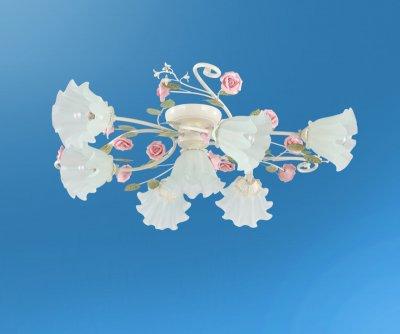 Люстра Colosseo 80942/7C RosariaПотолочные<br>Чудесная флористическая композиция представлена итальянскими дизайнерами на суд истинных ценителей непревзойдённой эстетики. Оцените по достоинству прекрасные преимущества потолочной люстры Colosseo 80942/7C! В итальянском творении идеально сочетаются грациозные переплетения конструкции и превосходно скроенные плафоны мягкой геометрии. Целых семь источников яркого сияния наполнят любое пространство чудесным свечением. Дизайнеры оригинально подошли к цветовому наполнению изделия: нотки розового перекликаются с нежно-зелёной тональностью и оттенком «слоновая кость». Компактные размеры потолочной люстры Colosseo 80942/7C позволят украсить ею интерьеры разных площадей. Каждый Ваш гость будет с восхищением наблюдать за истинным произведением дизайнерского искусства на домашних просторах.<br><br>Установка на натяжной потолок: Ограничено<br>S освещ. до, м2: 18<br>Крепление: Планка<br>Тип товара: Люстра<br>Тип лампы: накаливания / энергосбережения / LED-светодиодная<br>Тип цоколя: E14<br>Количество ламп: 7<br>MAX мощность ламп, Вт: 40<br>Диаметр, мм мм: 830<br>Высота, мм: 230<br>Цвет арматуры: бежевый