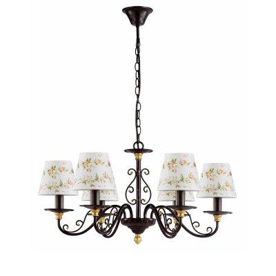 Люстра Colosseo 80953/6 TeodoraПодвесные<br><br><br>Установка на натяжной потолок: Да<br>S освещ. до, м2: 16<br>Крепление: Крюк<br>Тип товара: Люстра подвесная<br>Скидка, %: 14<br>Тип лампы: накаливания / энергосбережения / LED-светодиодная<br>Тип цоколя: E14<br>Количество ламп: 6<br>MAX мощность ламп, Вт: 40<br>Диаметр, мм мм: 680<br>Высота, мм: 370 - 720<br>Цвет арматуры: коричневый