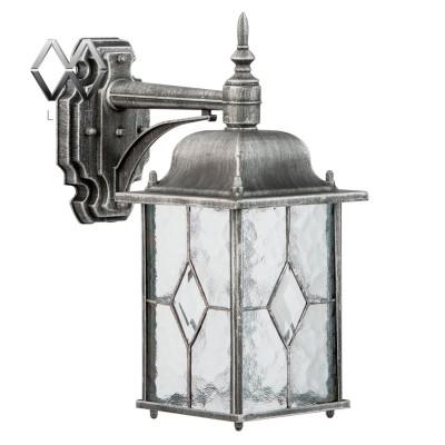 Светильник влагозащищенный Mw light 813020201 БургосНастенные<br>Описание модели 813020201: Оригинальное витражное стекло в коллекции Бургос красиво преломляет лучи света, тем самым достойно украшая конструкцию светильников. Контуры алюминиевого литого основания чёрного цвета декорированы модной серебряной патиной. Благодаря лёгкости металлической конструкции и интересному дизайну, светильник отлично впишется в экстерьер любого природного ландшафта.<br><br>S освещ. до, м2: 4<br>Тип лампы: накаливания / энергосбережения / LED-светодиодная<br>Тип цоколя: Е27<br>Количество ламп: 1<br>Ширина, мм: 160<br>MAX мощность ламп, Вт: 100<br>Длина, мм: 350<br>Высота, мм: 290<br>Поверхность арматуры: матовый<br>Цвет арматуры: черный<br>Общая мощность, Вт: 100