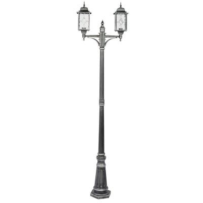 Светильник влагозащищенный Mw light 813040602 БургосБольшие фонари<br>Описание модели 813040602: Оригинальное витражное стекло в коллекции Бургос красиво преломляет лучи света, тем самым достойно украшая конструкцию светильников. Контуры алюминиевого литого основания чёрного цвета декорированы модной серебряной патиной. Благодаря лёгкости металлической конструкции и интересному дизайну, светильник отлично впишется в экстерьер любого природного ландшафта.<br><br>S освещ. до, м2: 9<br>Тип лампы: накаливания / энергосбережения / LED-светодиодная<br>Тип цоколя: Е27<br>Цвет арматуры: Черный<br>Количество ламп: 2<br>Диаметр, мм мм: 570<br>Высота, мм: 2250<br>MAX мощность ламп, Вт: 100<br>Общая мощность, Вт: 200