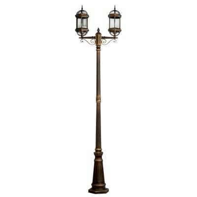 Светильник влагозащищенный Mw light 816040602 ПлимутБольшие фонари<br>Описание модели 816040602: Элегантные светильники из коллекции Плимут предназначены для оформления элегантных фасадов, беседок и садовых ландшафтных композиций. Образ старинной  вещи подчёркивается патинированным эффектом на золотой поверхности арматуры. Стеклянный плафон отличается особым глянцем и прозрачностью, через которое лампа накаливания ярко освещает пространство. Высокая степень защиты позволяет использовать светильники из коллекции Плимут под навесом и открытым небом, не опасаясь осадков, пыли, агрессивного воздействия внешней среды.<br><br>S освещ. до, м2: 9<br>Тип лампы: накаливания / энергосбережения / LED-светодиодная<br>Тип цоколя: E27<br>Количество ламп: 2<br>Ширина, мм: 200<br>MAX мощность ламп, Вт: 95<br>Длина, мм: 600<br>Высота, мм: 2280<br>Поверхность арматуры: глянцевый<br>Цвет арматуры: золотой<br>Общая мощность, Вт: 190