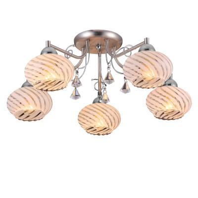 Люстра Colosseo 81804/5C LIAПотолочные<br><br><br>Тип товара: Люстра потолочная<br>Тип цоколя: E14<br>Количество ламп: 5<br>MAX мощность ламп, Вт: 60<br>Диаметр, мм мм: 600<br>Высота, мм: 220<br>Цвет арматуры: серебристый