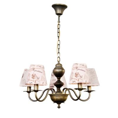 Светильник Colosseo 81907/5 OptimaПодвесные<br><br><br>Установка на натяжной потолок: Да<br>S освещ. до, м2: 10<br>Крепление: крюк<br>Тип лампы: Накаливания / энергосбережения / светодиодная<br>Тип цоколя: E14<br>Количество ламп: 5<br>MAX мощность ламп, Вт: 40<br>Диаметр, мм мм: 650<br>Высота, мм: 400<br>Цвет арматуры: бронзовый