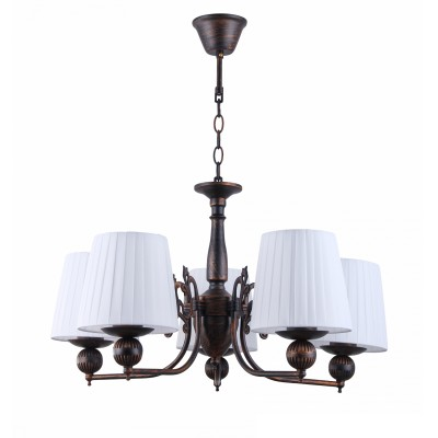 COLOSSEO optima 82126/5 коричневый E27 5*60WПодвесные<br><br><br>S освещ. до, м2: 18<br>Крепление: Крюк<br>Тип лампы: Накаливания / энергосбережения / светодиодная<br>Тип цоколя: E27<br>Количество ламп: 6<br>MAX мощность ламп, Вт: 60<br>Диаметр, мм мм: 600<br>Высота, мм: 360<br>Цвет арматуры: коричневый