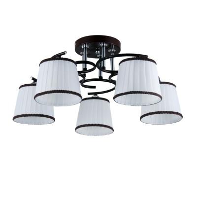 Светильник Colosseo 82130/5C OptimaПотолочные<br><br><br>S освещ. до, м2: 15<br>Крепление: Планка<br>Тип лампы: Накаливания / энергосбережения / светодиодная<br>Тип цоколя: E27<br>Количество ламп: 5<br>MAX мощность ламп, Вт: 60<br>Диаметр, мм мм: 530<br>Высота, мм: 270<br>Цвет арматуры: коричневый / хром серебристый