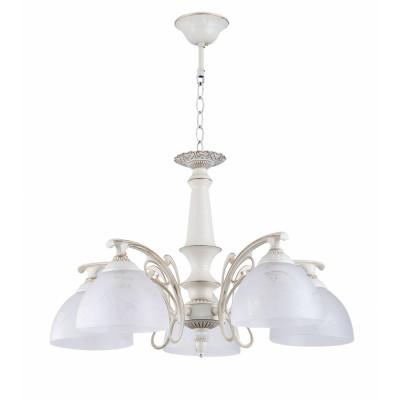 COLOSSEO optima 82141/5 белый/золото E27 5*60WПодвесные<br><br><br>S освещ. до, м2: 15<br>Тип лампы: Накаливания / энергосбережения / светодиодная<br>Тип цоколя: E27<br>Количество ламп: 5<br>MAX мощность ламп, Вт: 60<br>Диаметр, мм мм: 620<br>Высота, мм: 350<br>Цвет арматуры: белый с золотистой патиной