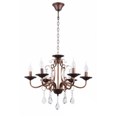 COLOSSEO optima 82145/6 коричневый E27 6*60Wлюстры подвесные классические<br><br><br>Установка на натяжной потолок: Да<br>S освещ. до, м2: 18<br>Крепление: Крюк<br>Тип лампы: Накаливания / энергосбережения / светодиодная<br>Тип цоколя: E27<br>Цвет арматуры: Другие цвета<br>Количество ламп: 6<br>Диаметр, мм мм: 590<br>Высота полная, мм: 460<br>Высота, мм: 460<br>MAX мощность ламп, Вт: 60