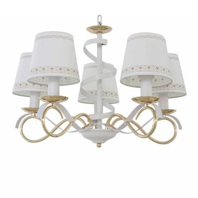 Светильник Colosseo 82179/5современные подвесные люстры модерн<br><br><br>Тип лампы: Накаливания / энергосбережения / светодиодная<br>Тип цоколя: E14<br>Цвет арматуры: Светлые тона<br>Количество ламп: 5<br>Диаметр, мм мм: 570<br>Высота полная, мм: 840<br>Высота, мм: 840<br>Поверхность арматуры: матовая<br>Оттенок (цвет): белый/золотой<br>MAX мощность ламп, Вт: 60<br>Общая мощность, Вт: 300