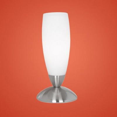 Eglo SLIM 82305 Настольная лампаСовременные<br>Австрийское качество модели светильника Eglo 82305 не оставит равнодушным каждого купившего! Основание матовая никилерованная сталь , текстильный абажур с защитным покрытием белого цвета, Класс изоляции 2 (плоская вилка, двойная изоляция от вилки до лампы), сенсорный выключатель, IP 20, освещенность 860 lm Н=220,D=70.<br><br>S освещ. до, м2: 2<br>Тип лампы: накаливания / энергосбережения / LED-светодиодная<br>Тип цоколя: E14<br>Количество ламп: 1<br>MAX мощность ламп, Вт: 2<br>Диаметр, мм мм: 70<br>Размеры основания, мм: 100<br>Высота, мм: 220<br>Оттенок (цвет): белый<br>Цвет арматуры: серый<br>Общая мощность, Вт: 1X40W
