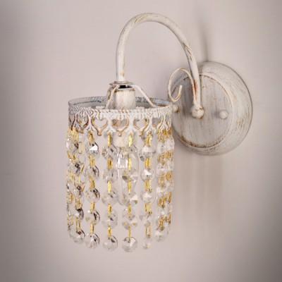 Светильник бра Colosseo 82604/1W ELIANNAХрустальные<br><br><br>Тип цоколя: E14<br>Цвет арматуры: белый с золотистой патиной<br>Количество ламп: 1