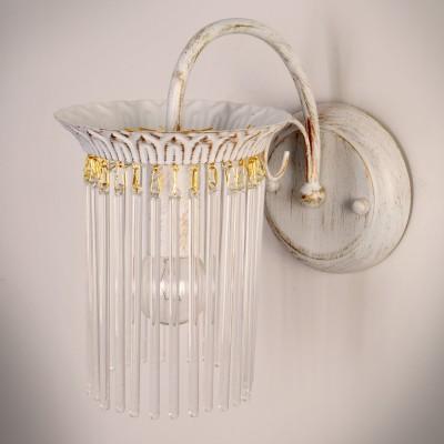 Светильник бра Colosseo 82605/1W GIORDANAКлассические<br><br><br>Тип цоколя: E14<br>Цвет арматуры: белый с золотистой патиной<br>Количество ламп: 1
