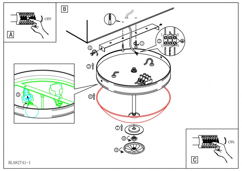 Схема - инструкция установки потолочного светильника