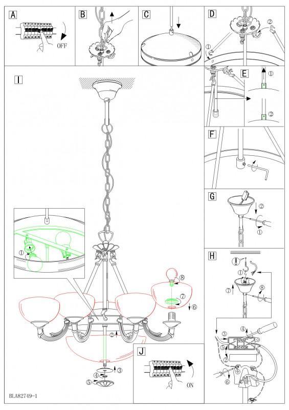 Схема - инструкция установки люстры на крюк