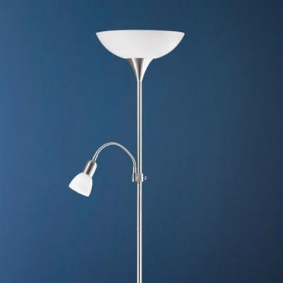 Eglo UP 2 82842 Торшер напольныйМодерн<br>Австрийское качество модели светильника Eglo 82842 не оставит равнодушным каждого купившего! Основание матовая никилерованная сталь, пластиковый плафон и матовое опаловое стекло белого цвета, дополнительный светильник для чтения с регулировкой по высоте и отдельным выключателем, Класс изоляции 2 (плоская вилка, двойная изоляция от вилки до лампы), IP 20, освещенность 1790 lm Н=1780,D=275.<br><br>S освещ. до, м2: 2<br>Тип лампы: накаливания / энергосбережения / LED-светодиодная<br>Тип цоколя: E27<br>Количество ламп: 1+1<br>MAX мощность ламп, Вт: 7<br>Диаметр, мм мм: 275<br>Размеры основания, мм: 230<br>Высота, мм: 1765<br>Оттенок (цвет): белый<br>Цвет арматуры: серый<br>Общая мощность, Вт: 1X60W