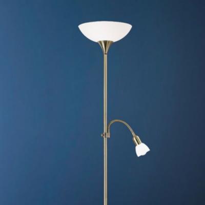 Eglo UP 2 82844 Торшер напольныйСовременные<br>Австрийское качество модели светильника Eglo 82844 не оставит равнодушным каждого купившего! Основание сталь с бронзовым покрытием, пластиковый плафон и матовое опаловое стекло белого цвета, дополнительный светильник для чтения с регулировкой по высоте и отдельным выключателем, Класс изоляции 2 (плоская вилка, двойная изоляция от вилки до лампы), IP 20, освещенность 1790 lm Н=1780,D=275.<br><br>S освещ. до, м2: 2<br>Тип лампы: накаливания / энергосбережения / LED-светодиодная<br>Тип цоколя: E27<br>Цвет арматуры: бронзовый<br>Количество ламп: 1+1<br>Диаметр, мм мм: 275<br>Размеры основания, мм: 230<br>Высота, мм: 1765<br>Оттенок (цвет): белый<br>MAX мощность ламп, Вт: 7<br>Общая мощность, Вт: 1X60W