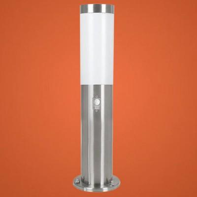 Eglo HELSINKI 83279 светильник уличныйОдиночные столбы<br>Энергосберегающие парковые светильники EGLO MALMO (IP44) и EGLO HELSINKI (IP44) — светильники для наружного освещения. Степень защиты IP44 — защита от твердых тел gt  1 мм, защита от капель и брызг. Модели 2, 7, 8, 9 снабжены датчиком движения. Плафоны из матового пластика, арматура из нержавеющей стали. Светильники рассчитаны на энергосберегающую компактную люминесцентную лампу PL 15W E27. Цвет Malmo: 1, 2, 3, 4 — нержавеющая сталь (niro)  цвет Helsinki: 5, 6, 7, 8, 9, 10 — нержавеющая сталь (niro).<br><br>Тип цоколя: E27-ESL-2U<br>MAX мощность ламп, Вт: 15<br>Диаметр, мм мм: 75<br>Размеры основания, мм: 115<br>Высота, мм: 450<br>Оттенок (цвет): белый<br>Цвет арматуры: серебристый<br>Общая мощность, Вт: 2