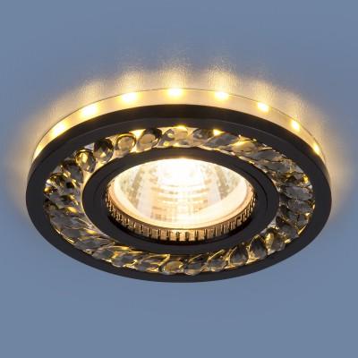 Точечный светильник Электростандарт 8355 MR16 GC/BK тонированный/черныйкруглые встраиваемые светильники<br>Точечные светодиодные светильники 8355 MR16 работают в трех режимах: основное освещение и LED подсветку можно включать как совместно, так и отдельно друг от друга.<br>Основание светильников изготовлено из зеркального стекла, что позволяет увеличить количество света. Отраженный свет преломляется в стразах, закрепленных на зеркальной поверхности. Корпус из высокопрочного алюминиевого сплава надежно удерживает стеклянное основание.