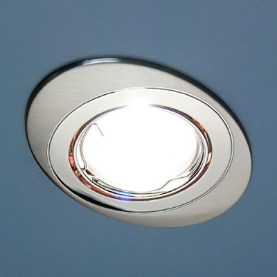 856A CF SN/N (сатин. никель / никель) Электростандарт Точечный светильникОвальные<br>Лампа: MR16 G5.3 max 50 Вт Размер: 108 х 80 мм Высота внутренней части: ? 20 мм Высота внешней части: ? 6 мм Монтажное отверстие: #216; 76 мм Гарантия: 2 года Светильник имеет поворотный механизм.<br><br>S освещ. до, м2: 3<br>Тип лампы: галогенная<br>Тип цоколя: gu5.3<br>Цвет арматуры: серебристый<br>Количество ламп: 1<br>Диаметр, мм мм: 108<br>Диаметр врезного отверстия, мм: 75<br>Оттенок (цвет): сатин никель<br>MAX мощность ламп, Вт: 50