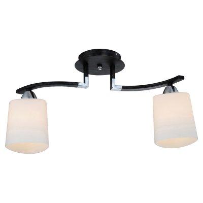 Светильник IDLamp 860/2PF DarkПотолочные<br><br><br>Установка на натяжной потолок: Да<br>S освещ. до, м2: 8<br>Крепление: Планка<br>Тип товара: Люстра<br>Скидка, %: 37<br>Тип лампы: накаливания / энергосбережения / LED-светодиодная<br>Тип цоколя: E14<br>Количество ламп: 2<br>Ширина, мм: 140<br>MAX мощность ламп, Вт: 60<br>Длина, мм: 370<br>Высота, мм: 260<br>Оттенок (цвет): белый<br>Цвет арматуры: серебристый