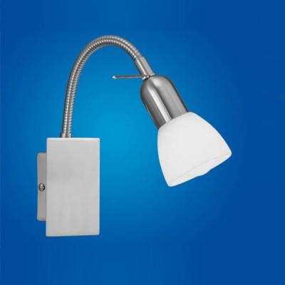 Eglo ARES 1 86213 Светильник поворотный спотГибкие<br>Австрийское качество модели светильника Eglo 86213 не оставит равнодушным каждого купившего! Закаленное алебастровое стекло (пр-во Чехия) , основание сталь с никелевым матирующим покрытием , гибкий держатель плафона, Класс изоляции 2 (двойная изоляция от вилки до лампы), c выключателем, IP 20, освещенность 470 lm ,Н=266B=70L=220,1X40W,E14.<br><br>S освещ. до, м2: 2<br>Тип лампы: накаливания / энергосбережения / LED-светодиодная<br>Тип цоколя: E14<br>Цвет арматуры: серый<br>Количество ламп: 1<br>Ширина, мм: 70<br>Размеры основания, мм: 0<br>Длина, мм: 220<br>Высота, мм: 266<br>Оттенок (цвет): белый<br>MAX мощность ламп, Вт: 2<br>Общая мощность, Вт: 1X40W
