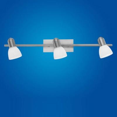 Eglo ARES 1 86215 Светильник поворотный спотТройные<br>Австрийское качество модели светильника Eglo 86215 не оставит равнодушным каждого купившего! Закаленное алебастровое стекло (пр-во Чехия) , основание сталь с никелевыми матирующим покрытием , Класс изоляции 2 (двойная изоляция от вилки до лампы), IP 20, освещенность 1410 lm ,Н=150B=70L=780,3X40W,E14.<br><br>S освещ. до, м2: 8<br>Тип лампы: накал-я - энергосбер-я<br>Тип цоколя: E14<br>Цвет арматуры: серый<br>Количество ламп: 3<br>Ширина, мм: 70<br>Размеры основания, мм: 0<br>Длина, мм: 580<br>Высота, мм: 150<br>Оттенок (цвет): белый<br>MAX мощность ламп, Вт: 2<br>Общая мощность, Вт: 3X40W