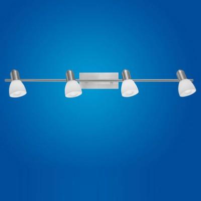 Eglo ARES 1 86216 Светильник поворотный спотспоты 4 лампы<br>Австрийское качество модели светильника Eglo 86216 не оставит равнодушным каждого купившего! Закаленное алебастровое стекло (пр-во Чехия) , основание сталь с никелевыми матирующим покрытием , Класс изоляции 2 (двойная изоляция от вилки до лампы), IP 20, освещенность 1880 lm ,Н=150B=70L=780,4X40W,E14.<br><br>S освещ. до, м2: 10<br>Тип лампы: накал-я - энергосбер-я<br>Тип цоколя: E14<br>Цвет арматуры: серый<br>Количество ламп: 4<br>Ширина, мм: 70<br>Размеры основания, мм: 0<br>Длина, мм: 780<br>Высота, мм: 150<br>Оттенок (цвет): белый<br>MAX мощность ламп, Вт: 2<br>Общая мощность, Вт: 4X40W