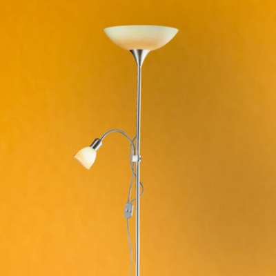 Eglo UP 4 86655 Торшер напольныйСовременные<br>Австрийское качество модели светильника Eglo 86655 не оставит равнодушным каждого купившего! Основание матовая никилерованная сталь, опаловое стекло оранжевого цвета, дополнительный светильник для чтения с регулировкой по высоте и отдельным выключателем, Класс изоляции 2 (плоская вилка, двойная изоляция от вилки до лампы), IP 20, освещенность 1790 lm Н=1780,D=300.<br><br>S освещ. до, м2: 2<br>Тип лампы: накаливания / энергосбережения / LED-светодиодная<br>Тип цоколя: E27<br>Цвет арматуры: серый<br>Количество ламп: 1+1<br>Диаметр, мм мм: 300<br>Размеры основания, мм: 250<br>Высота, мм: 1780<br>Оттенок (цвет): зеленый, оранжевый<br>MAX мощность ламп, Вт: 2<br>Общая мощность, Вт: 1X60W