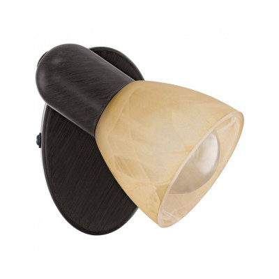 Eglo Dakar 87078 Светильник поворотный спотодиночные споты<br>Австрийское качество модели светильника Eglo 87078 не оставит равнодушным каждого купившего! Закаленное алебастровое стекло коньячного цвета (пр-во Чехия) , основание сталь с защитно декоративным покрыием коричневый антик , Класс изоляции 2 (двойная изоляция от вилки до лампы), IP 20, освещенность 470 lm ,B=65L=105,1X40W,Е14.<br><br>S освещ. до, м2: 2<br>Тип лампы: накал-я - энергосбер-я<br>Тип цоколя: E14<br>Цвет арматуры: коричневый<br>Количество ламп: 1<br>Ширина, мм: 65<br>Высота, мм: 105<br>MAX мощность ламп, Вт: 40