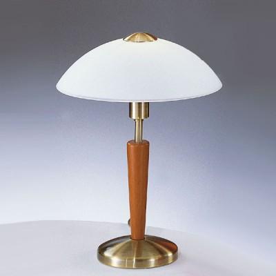 Eglo SOLO 1 87256 Настольная лампаКлассические<br>Австрийское качество модели светильника Eglo 87256 не оставит равнодушным каждого купившего! Основание матовая никилерованная хромированная сталь со вставками из дерева, матовое опаловое стекло белого цвета, Класс изоляции 2 (плоская вилка, двойная изоляция от вилки до лампы), сенсорный выключатель, IP 20, освещенность 860 lm Н=350,D=260.<br><br>S освещ. до, м2: 4<br>Тип лампы: накал-я - энергосбер-я<br>Тип цоколя: E14<br>Количество ламп: 1<br>MAX мощность ламп, Вт: 2<br>Диаметр, мм мм: 260<br>Размеры основания, мм: 130<br>Высота, мм: 350<br>Оттенок (цвет): белый<br>Цвет арматуры: бронзовый<br>Общая мощность, Вт: 1X60W