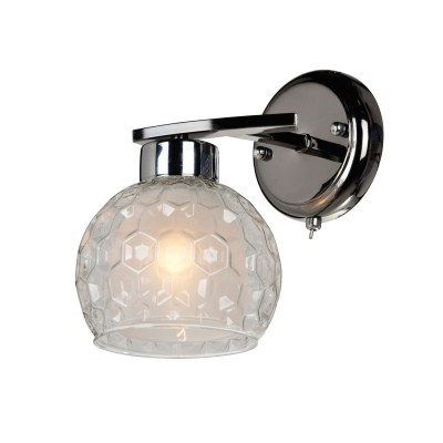 Светильник настенный бра Idlamp 875/1A-Darkchrome Elezavetaсовременные бра модерн<br><br><br>Крепление: Настенные<br>Тип лампы: Накаливания / энергосбережения / светодиодная<br>Тип цоколя: E27<br>Цвет арматуры: серебристый<br>Количество ламп: 1<br>Ширина, мм: 230<br>Длина, мм: 170<br>Высота, мм: 180<br>MAX мощность ламп, Вт: 60
