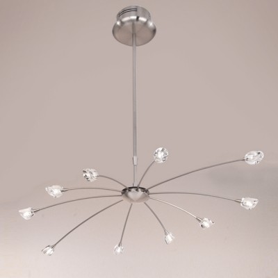 Люстра EGLO 87943 Romance EG08047 никельПодвесные<br><br><br>Установка на натяжной потолок: Да<br>S освещ. до, м2: 10<br>Крепление: Крюк<br>Тип лампы: галогенная/LED<br>Тип цоколя: G4<br>Количество ламп: 10<br>MAX мощность ламп, Вт: 20<br>Диаметр, мм мм: 1000<br>Высота, мм: 1440<br>Цвет арматуры: серебристый