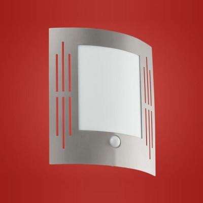 Eglo CITY 88144 светильник уличныйНастенные<br>Энергосберегающие парковые светильники EGLO CITY (IP33) — светильники для наружного освещения. Светильник 1, 3, 4, 5 — новинка 2008. Степень защиты IP33 — защита от твердых тел gt  2.5 мм, защита от дождя. Светильники 1, 3, 5 имеют датчики движения. Рассеиватель пластиковый  арматура светильников 1, 2, 3, 4 — из нержавеющей стали, арматура светильников 5, 6 — из окрашенной стали. Светильники рассчитаны на энергосберегающую компактную люминесцентную лампу PL/E 15W E27. Цвет: 1, 2, 3, 4 — нержавеющая сталь (stainless steel), 5, 6 — антрацит (anthracite).<br><br>Тип цоколя: E27<br>MAX мощность ламп, Вт: 60<br>Длина, мм: 235<br>Расстояние от стены, мм: 90<br>Высота, мм: 260<br>Оттенок (цвет): белый<br>Цвет арматуры: серебристый<br>Общая мощность, Вт: 2