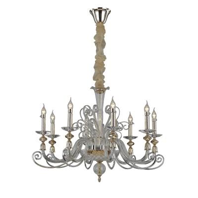 Светильник Divinare 8821/09 LM-8Подвесные<br><br><br>Установка на натяжной потолок: Да<br>S освещ. до, м2: 16<br>Тип лампы: Накаливания / энергосбережения / светодиодная<br>Тип цоколя: E14<br>Количество ламп: 8<br>MAX мощность ламп, Вт: 40W<br>Диаметр, мм мм: 820<br>Высота, мм: 610