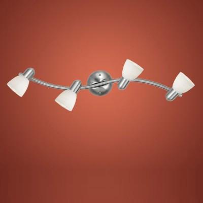 Eglo DAKAR 1 88474 Светильник поворотный спотС 4 лампами<br>Австрийское качество модели светильника Eglo 88474 не оставит равнодушным каждого купившего! Закаленное фактурное белое стекло (пр-во Чехия) , основание сталь с никелевыми матирующим покрытием , Класс изоляции 2 (двойная изоляция от вилки до лампы), IP 20, освещенность 1880 lm ,B=100L=370,4X40W,E14.<br><br>S освещ. до, м2: 10<br>Тип лампы: накал-я - энергосбер-я<br>Тип цоколя: E14<br>Количество ламп: 4<br>Ширина, мм: 100<br>MAX мощность ламп, Вт: 2<br>Размеры основания, мм: 0<br>Длина, мм: 650<br>Оттенок (цвет): белый<br>Цвет арматуры: серый<br>Общая мощность, Вт: 4X40W