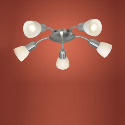 Eglo DAKAR 1 88476 Светильник поворотный спотПотолочные<br>Австрийское качество модели светильника Eglo 88476 не оставит равнодушным каждого купившего! Закаленное алебастровое стекло (пр-во Чехия) , основание сталь с никелевыми матирующим покрытием , Класс изоляции 2 (двойная изоляция от вилки до лампы), IP 20, освещенность 2350 lm ,В=470,5X40W,E14.<br><br>Установка на натяжной потолок: Ограничено<br>S освещ. до, м2: 13<br>Крепление: Планка<br>Тип лампы: накаливания / энергосбережения / LED-светодиодная<br>Тип цоколя: E14<br>Цвет арматуры: серый<br>Количество ламп: 5<br>Диаметр, мм мм: 470<br>Размеры основания, мм: 0<br>Оттенок (цвет): белый<br>MAX мощность ламп, Вт: 40<br>Общая мощность, Вт: 5X40W