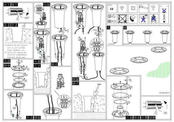 Схема установки грунтового светильника