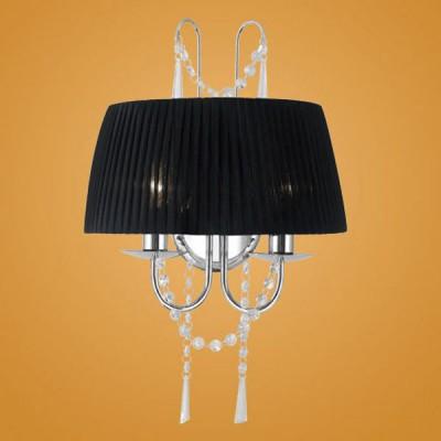 Eglo DIADEMA 89035 Светильник настенный браКлассические<br>Австрийское качество модели светильника Eglo 89035 не оставит равнодушным каждого купившего! Тканевый абажур из органзы, основание хромированная сталь, с висячими украшениями из хрусталя (Пр-во Египет Asfour) Класс изоляции 2 (двойная изоляция до лампы), IP 20, освещенность 940 lm ,L=340Н=505,2X40W,E14.<br><br>S освещ. до, м2: 5<br>Тип лампы: накаливания / энергосбережения / LED-светодиодная<br>Тип цоколя: E14<br>Количество ламп: 2<br>MAX мощность ламп, Вт: 2<br>Размеры основания, мм: 0<br>Длина, мм: 340<br>Расстояние от стены, мм: 170<br>Высота, мм: 505<br>Оттенок (цвет): черный, прозрачный<br>Цвет арматуры: серебристый<br>Общая мощность, Вт: 2X40W